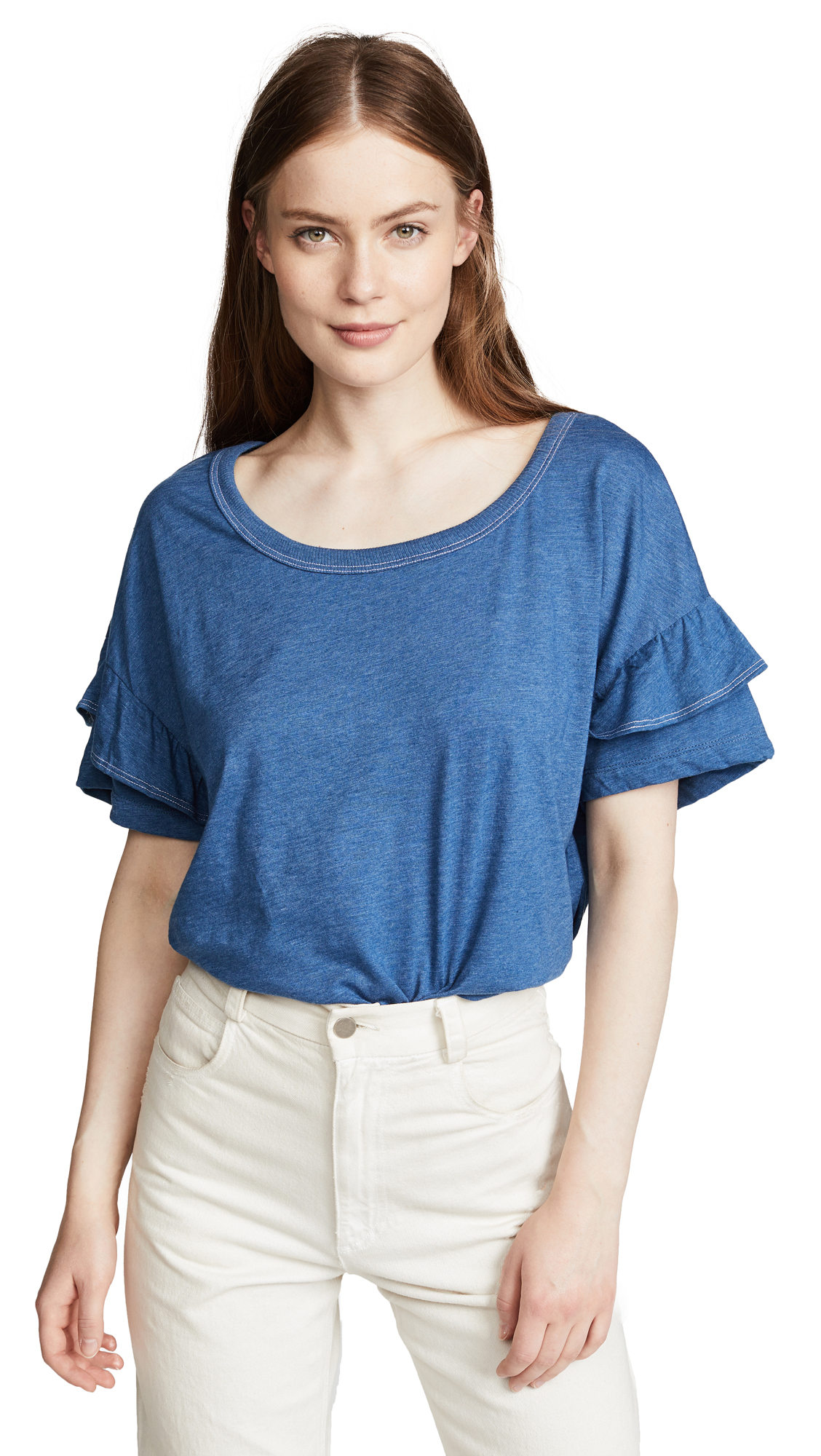 Splendid Short Sleeve Ruffle Tee In Light Indigo