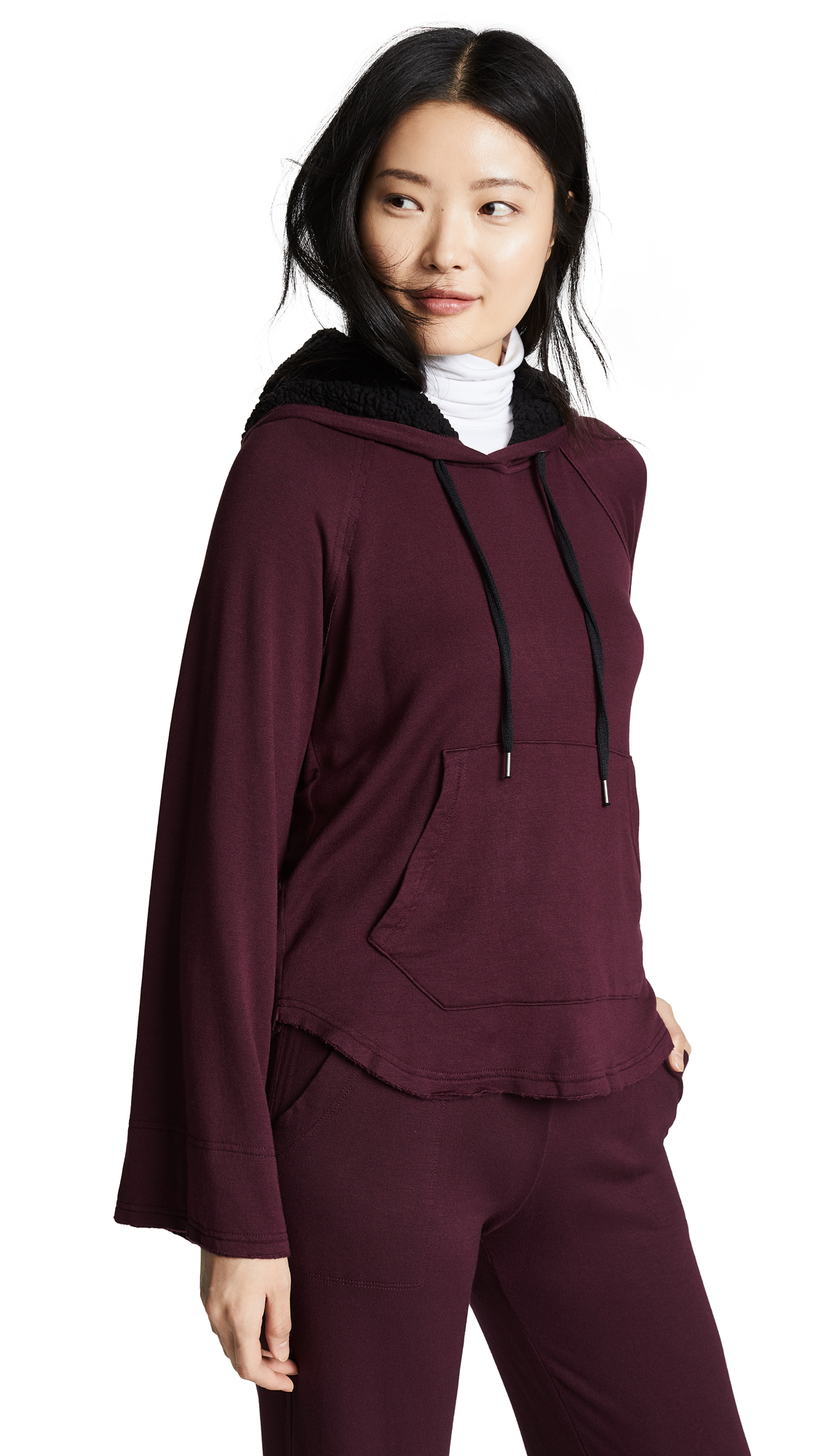 Super Soft Hoodie With Sherpa in Aubergine