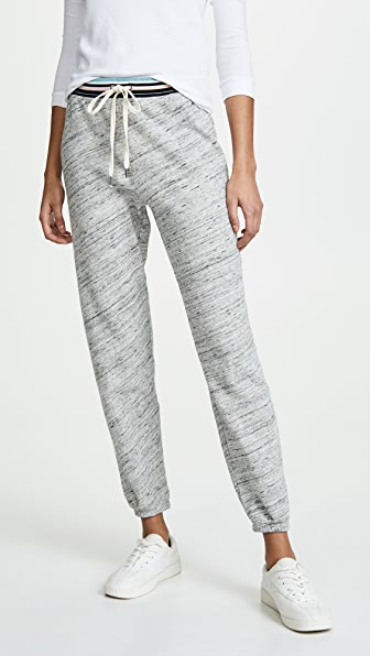 Taffy Striped Sweats in Heather Marble