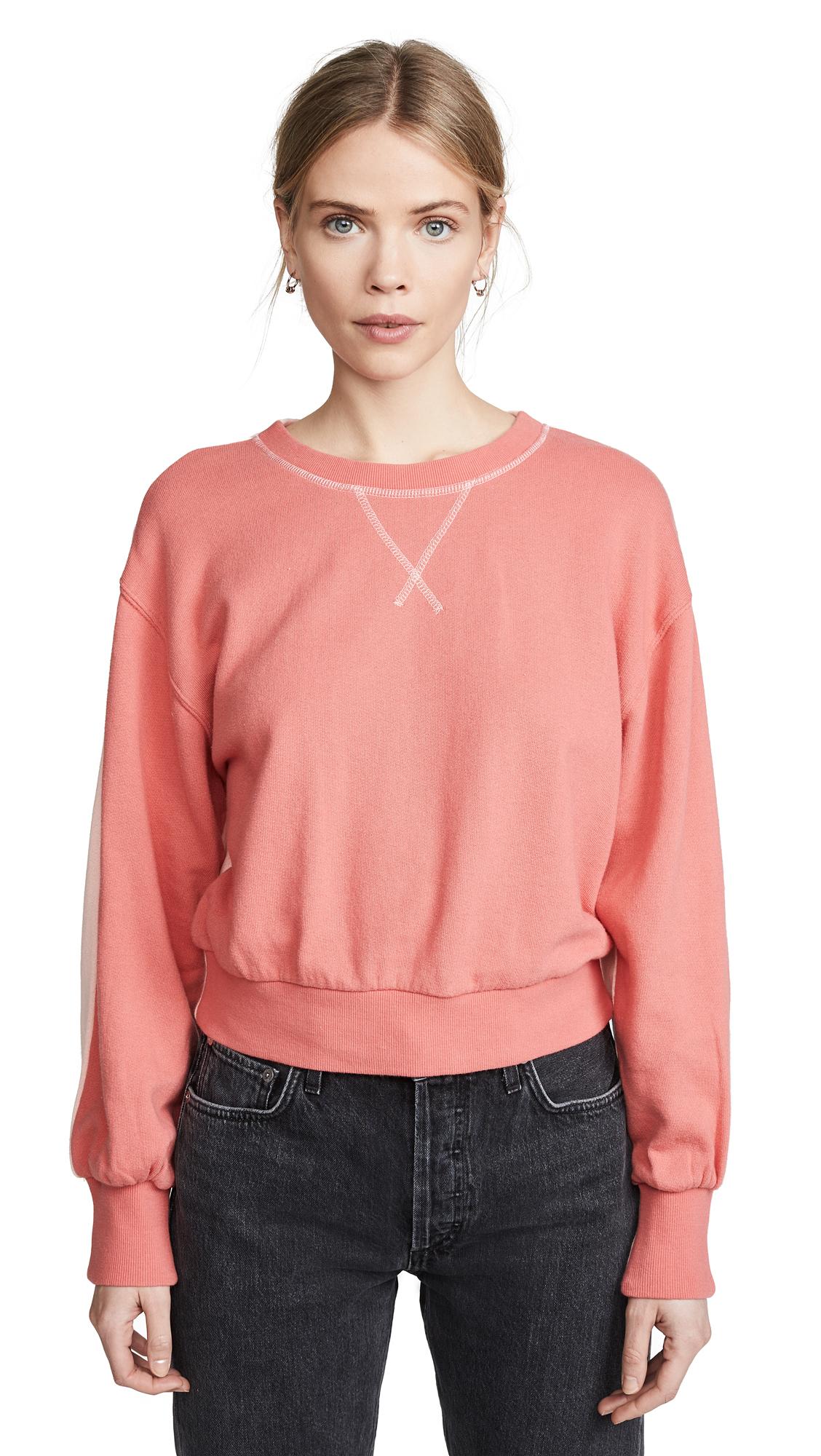 Splendid Ryder Active Crew Sweatshirt - Carmine/Fresh Pink