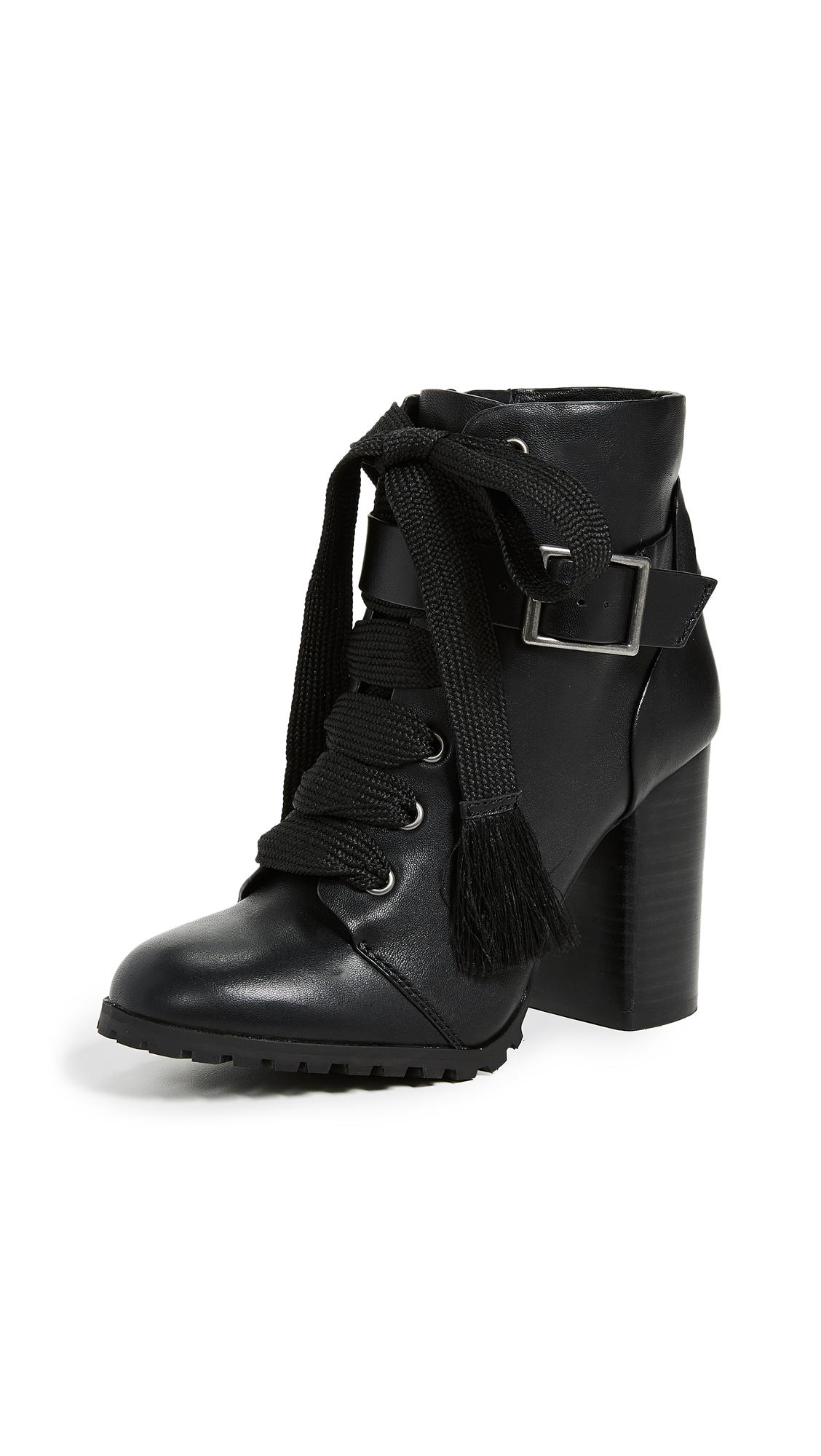 Splendid Cesar Block Heel Combat Boots - Black