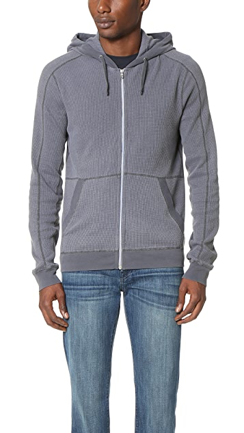 Splendid Mills Faded Thermal Zip Hoodie