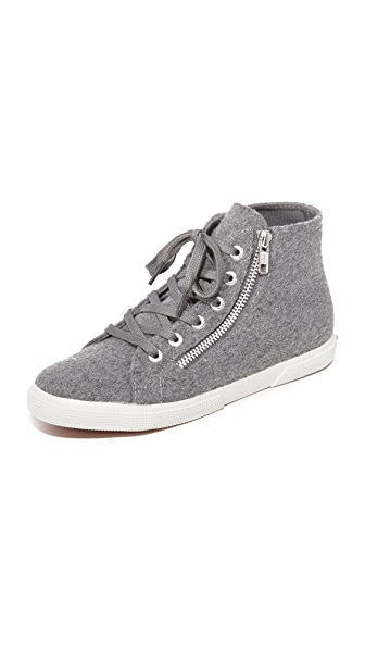 Superga 2224 Wool High Top Sneakers - Grey Pearl