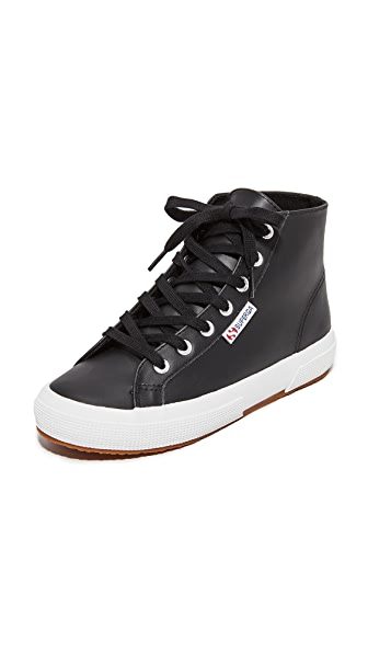 Superga 2795 Leather Hi Top Sneakers In Black