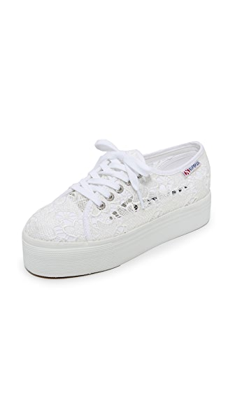 Superga 2790 Macrame Platform Sneakers - White