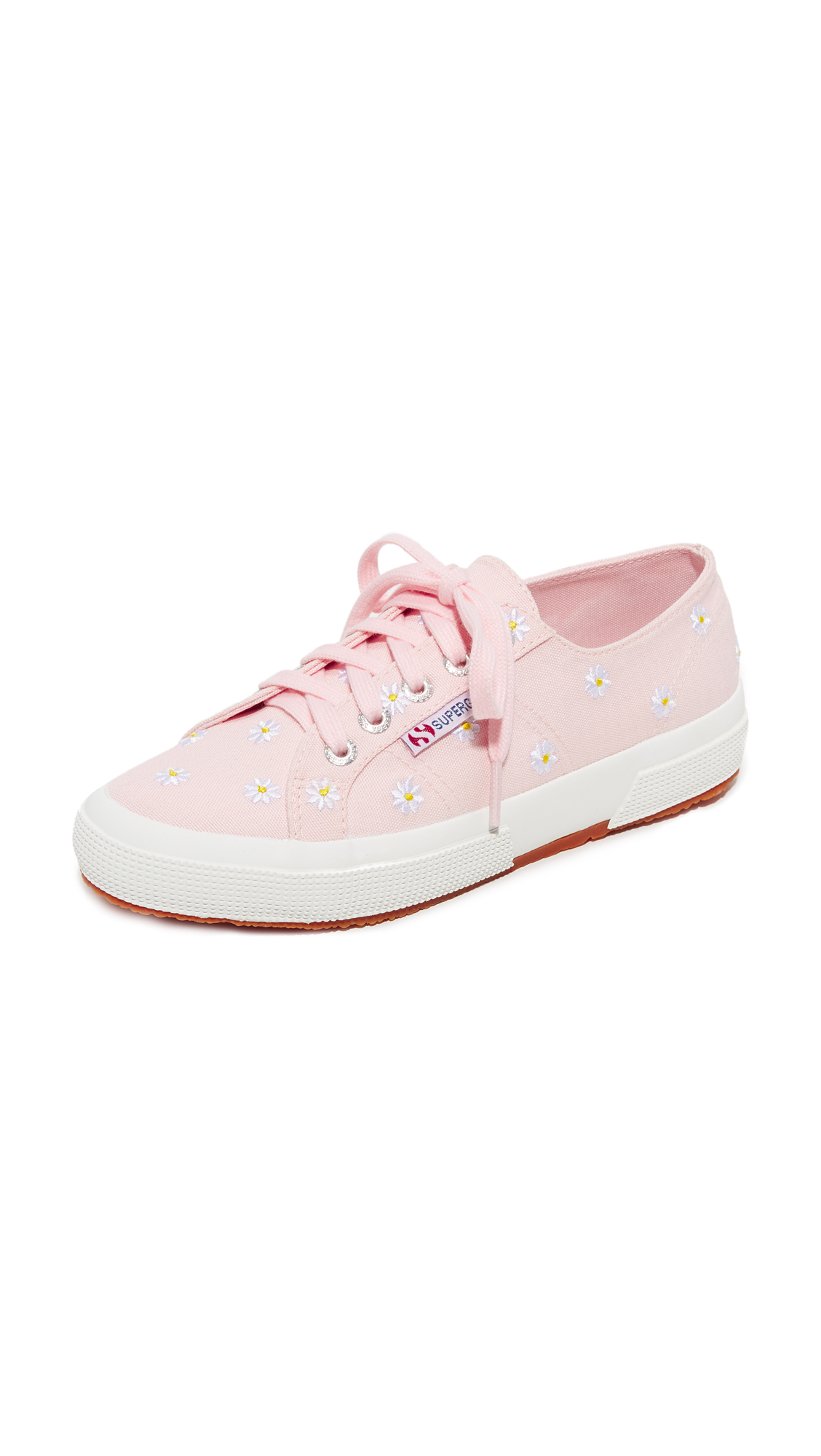 Superga 2750 Embroidered Cotu Sneakers - Pink Daisies