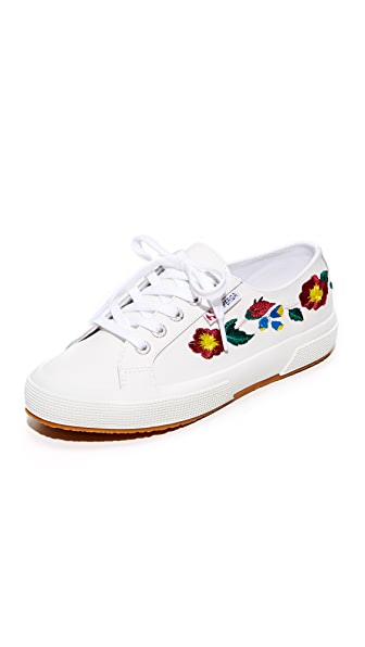 Superga 2750 Leather Embroidery Sneakers In White