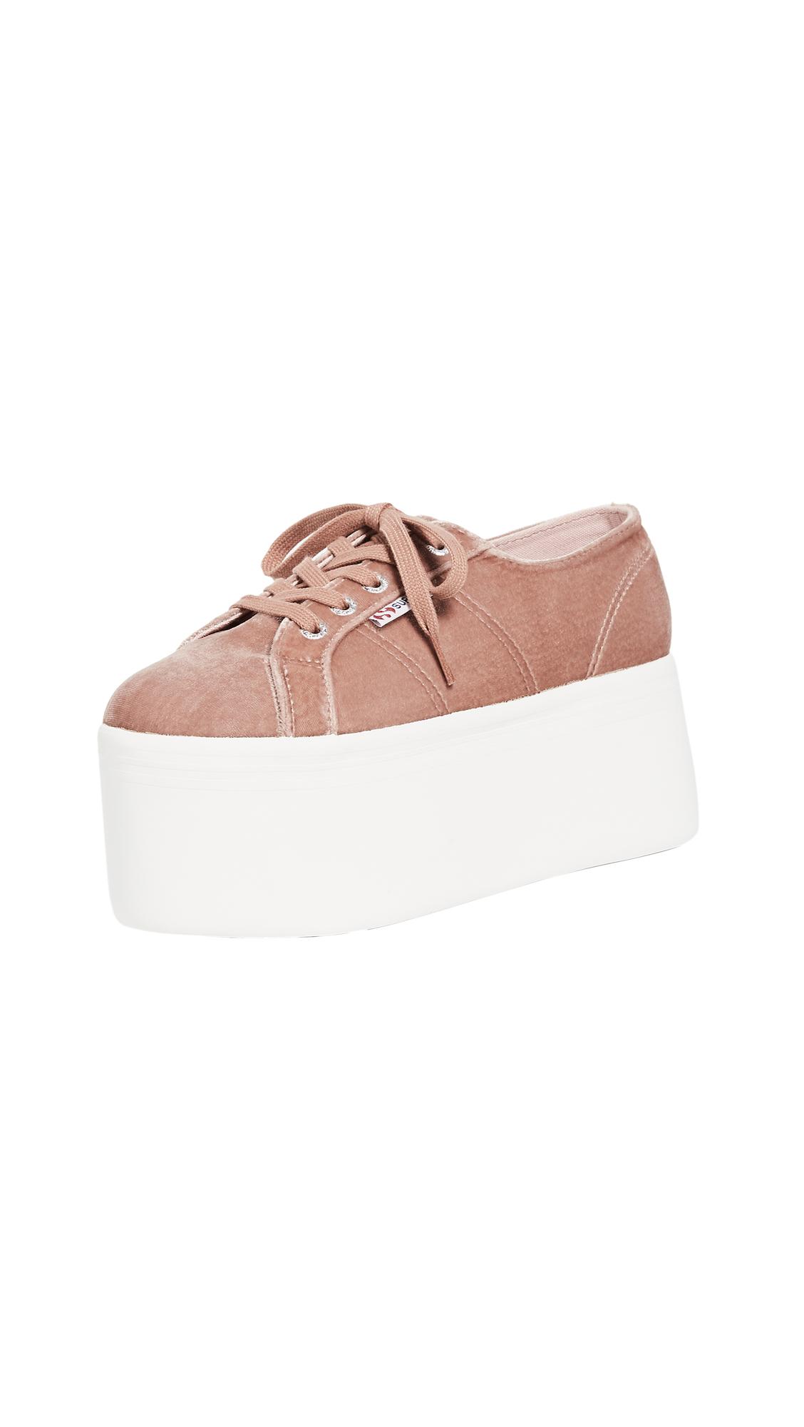 Superga 2802 Velvet Super Platform Sneakers - Blush