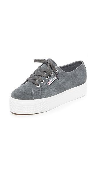Superga 2790 Suede Platform Sneakers In Grey
