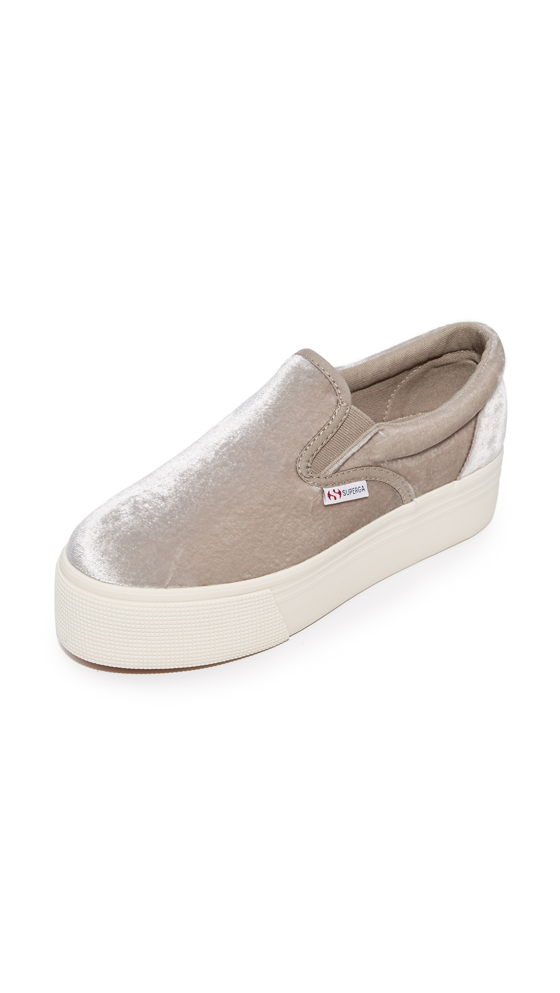 Superga 2314 Velvet Platform Slip On Sneakers - Light Grey