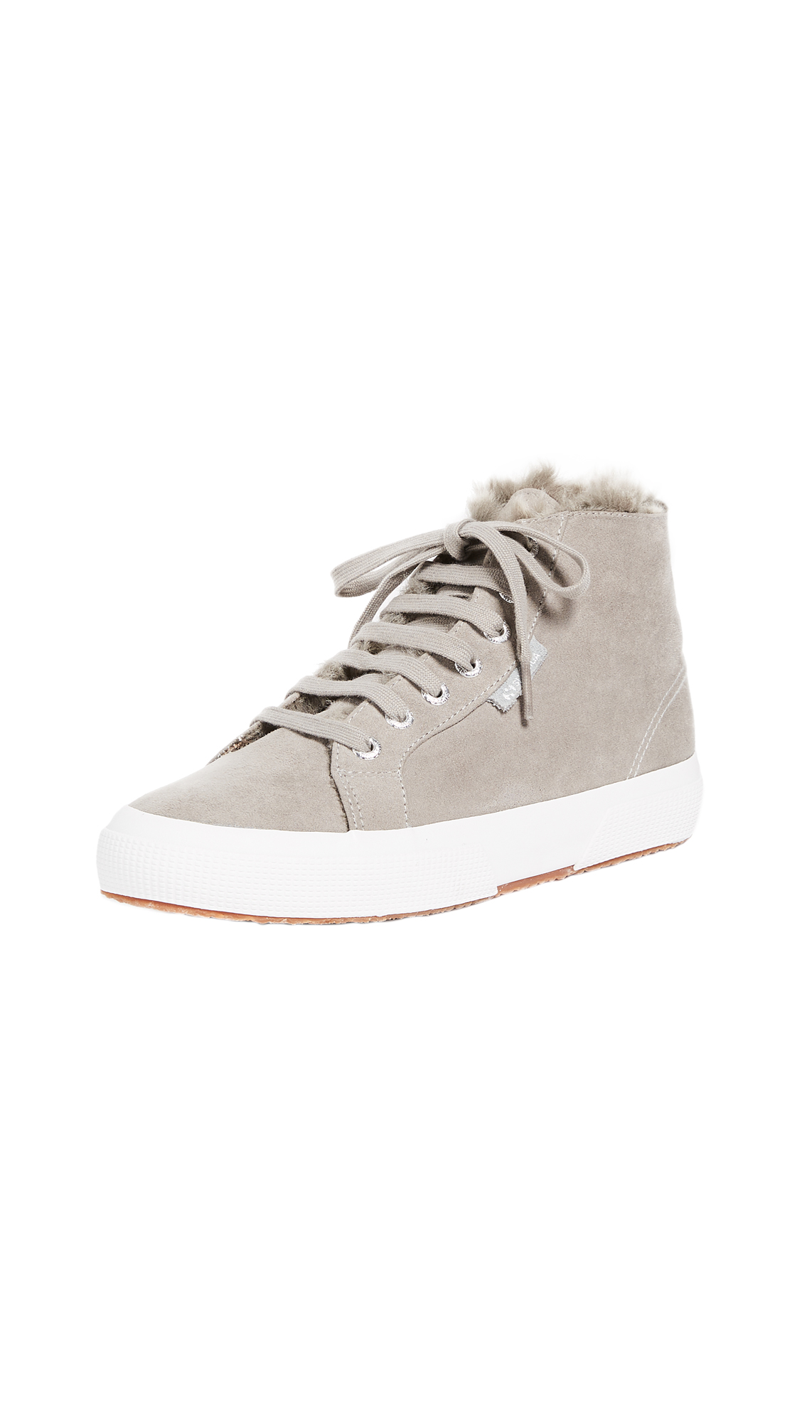 Superga 2795 Sherpa Lined High Top Sneakers - Grey