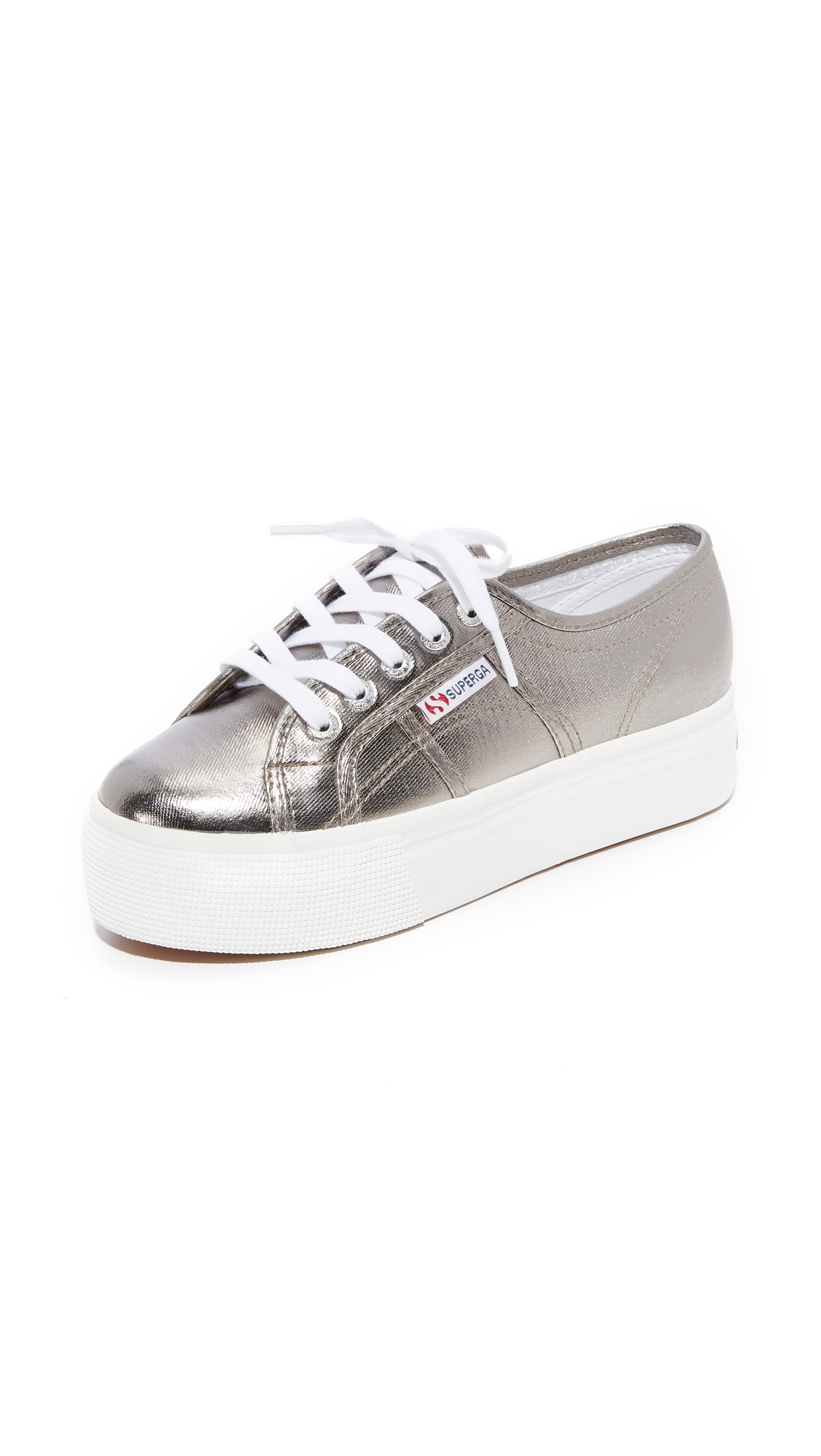 Superga 2750 Cotu Metallic Platform Sneakers - Grey