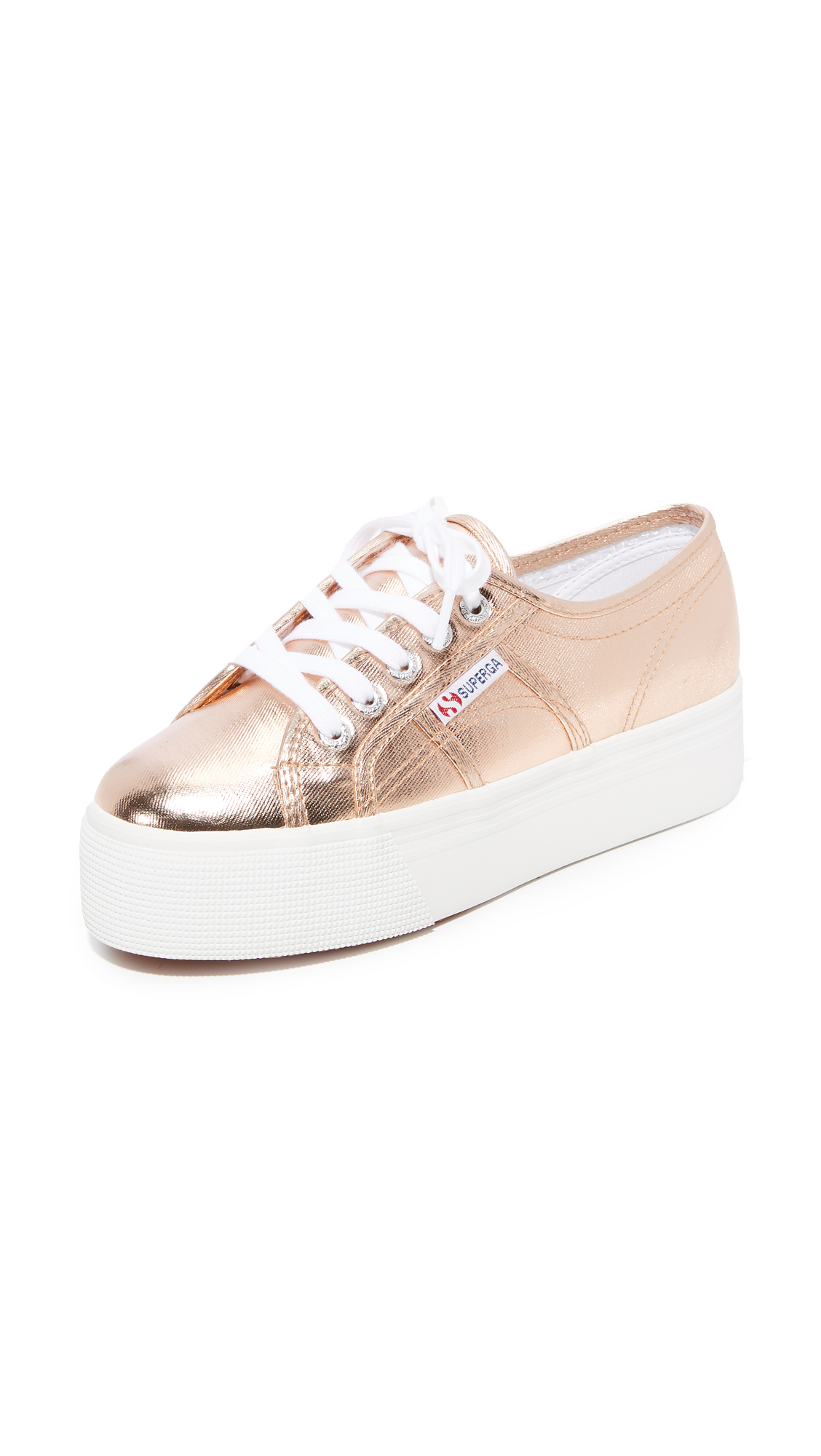 Superga 2750 Cotu Metallic Platform Sneakers - Rose Gold