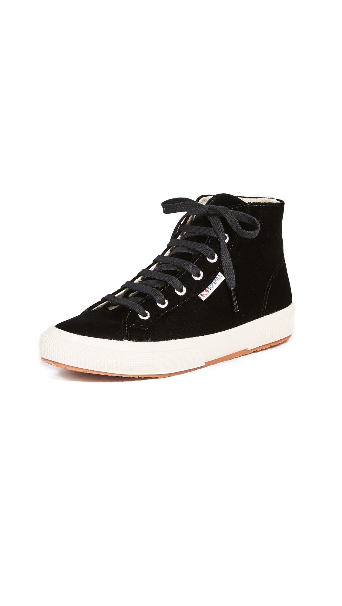 Superga 2795 Velvet High Top Sneakers In Black