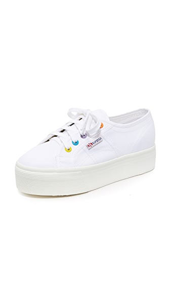 Superga 2790 Platform COTW Eyelet Classic Sneakers In White Multi