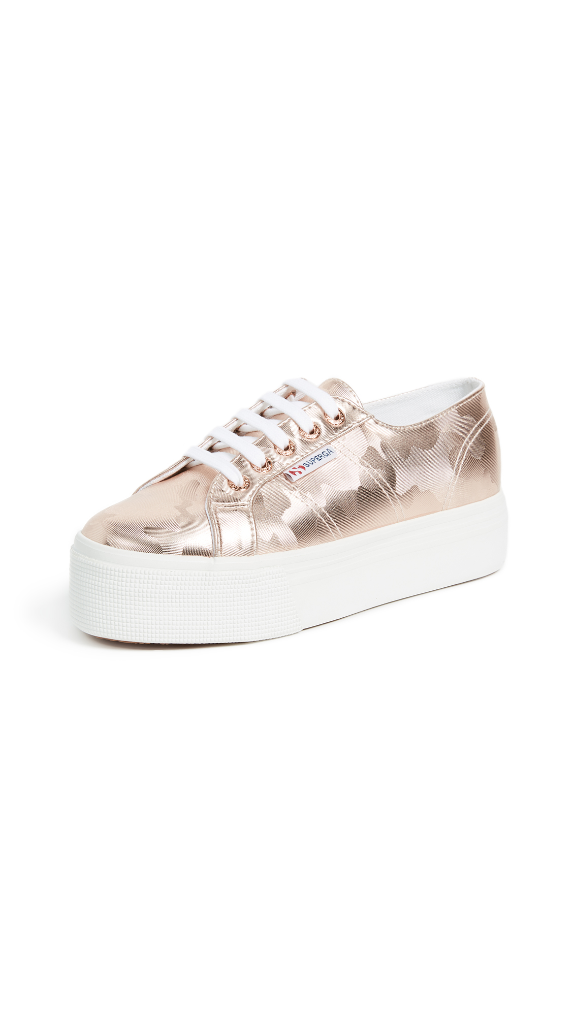 Superga 2790 Army Chrome Platform Sneakers - Rose Gold