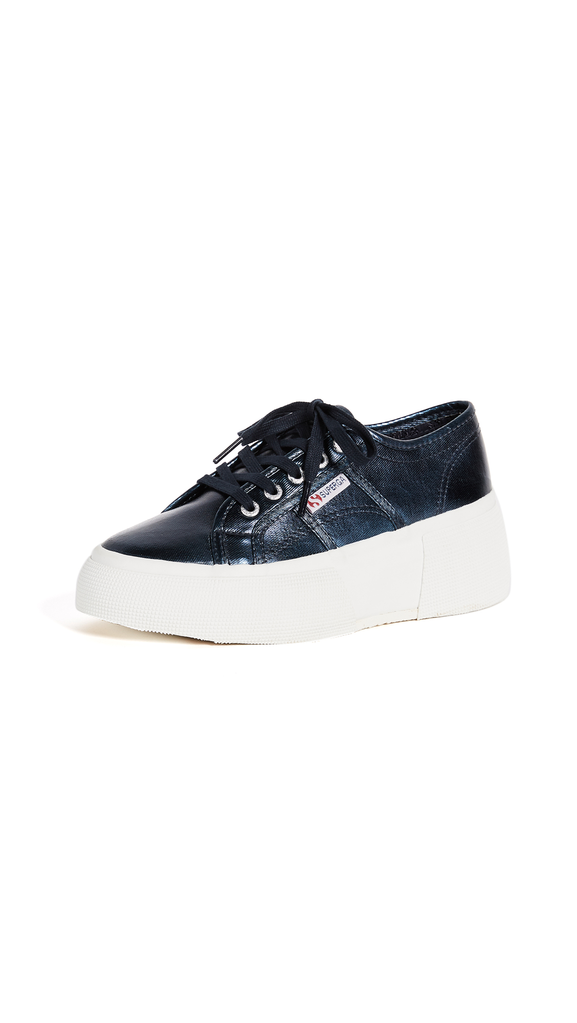 Superga 2287 Metallic Platform Sneakers - Blue
