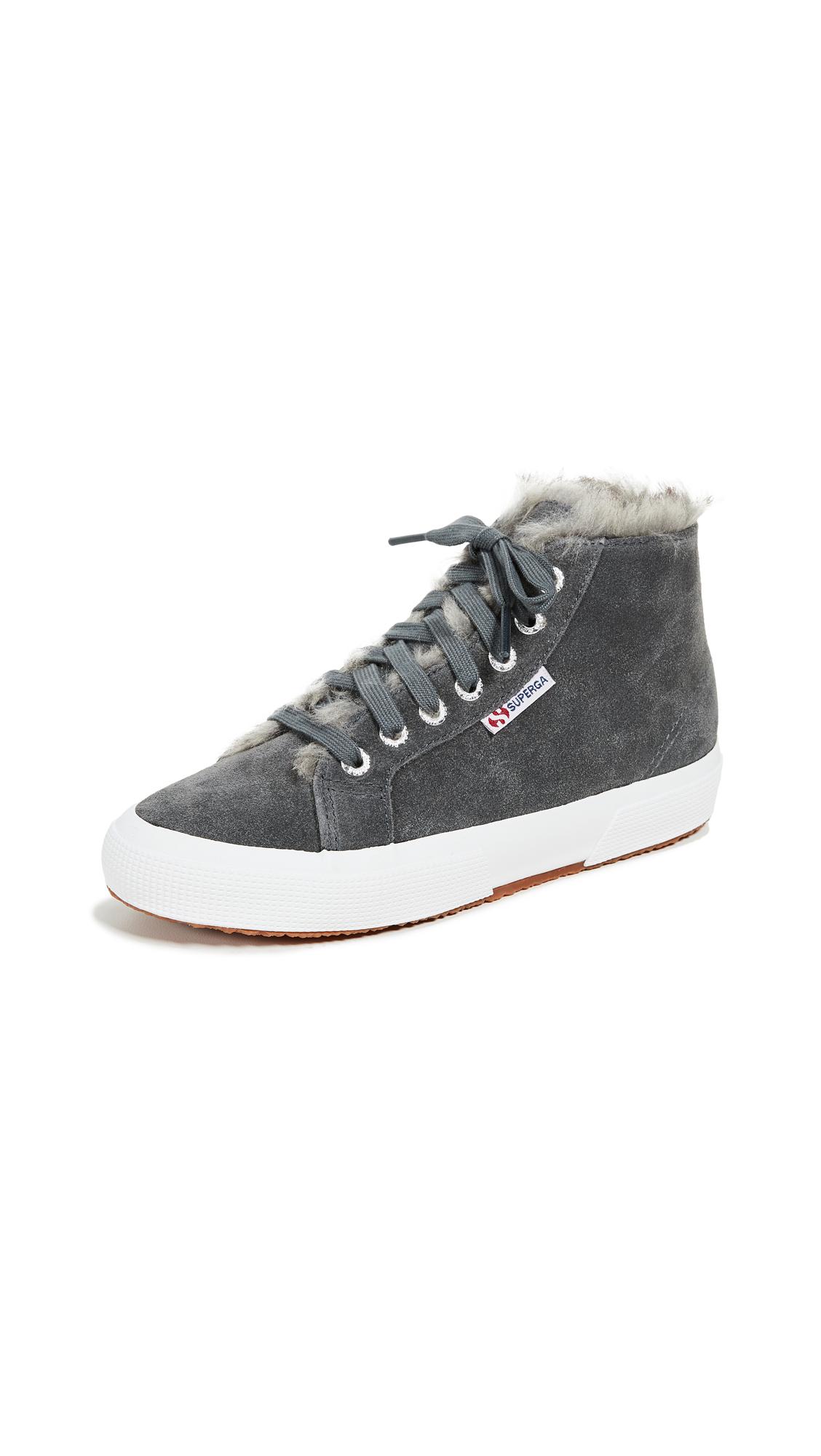 Superga 2795 Faux Fur Lined Sneakers In Dark Grey