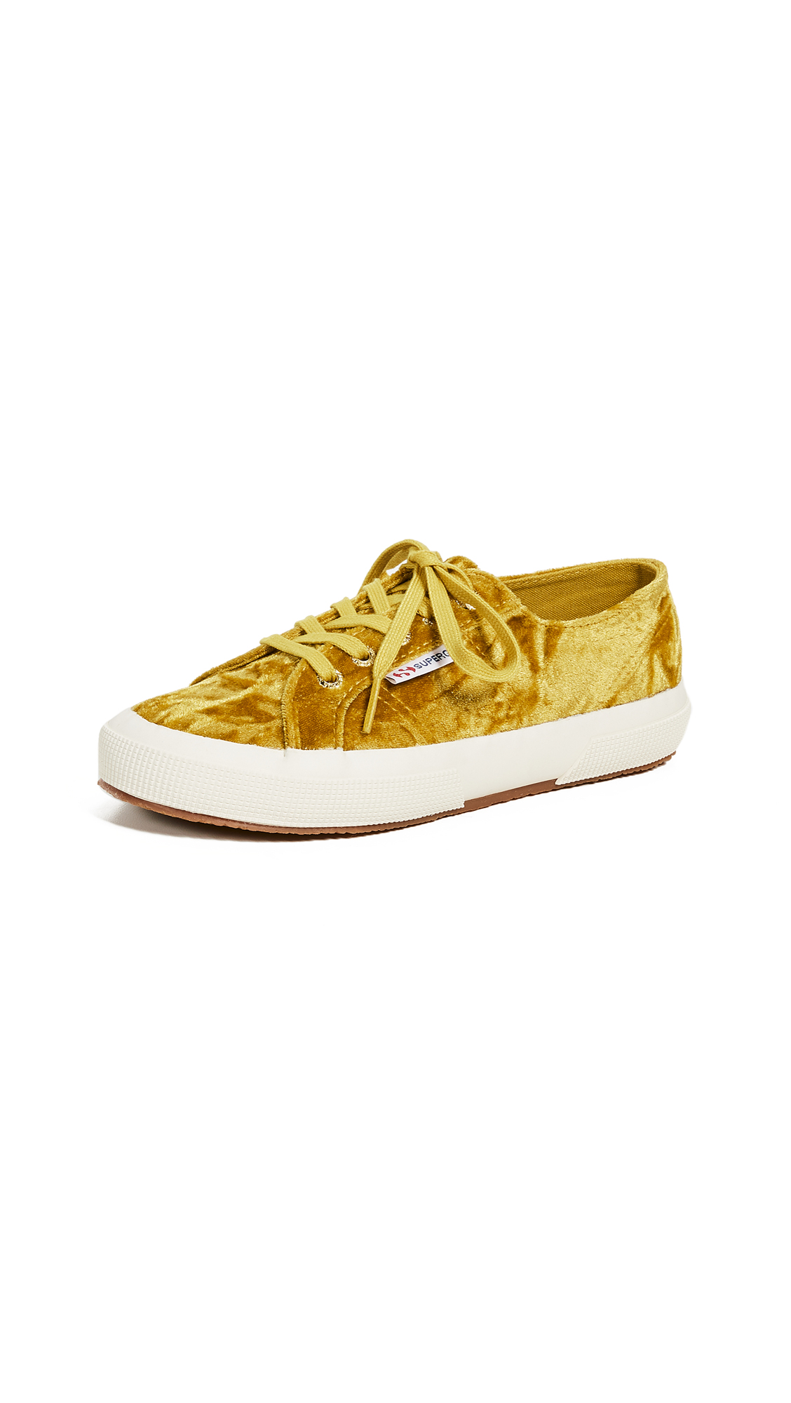 Superga 2750 Crushed Velvet Lace Up Sneakers - Mustard