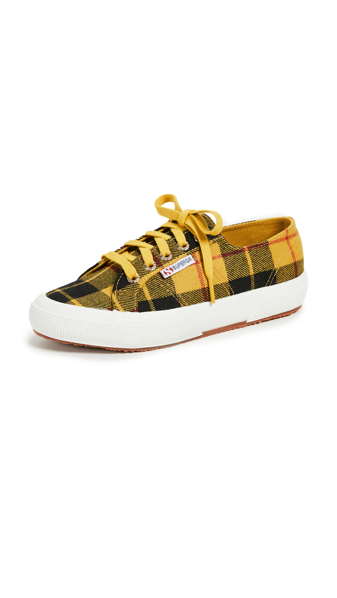 Superga 2750 Tartan Lace Up Sneakers - Yellow Plaid