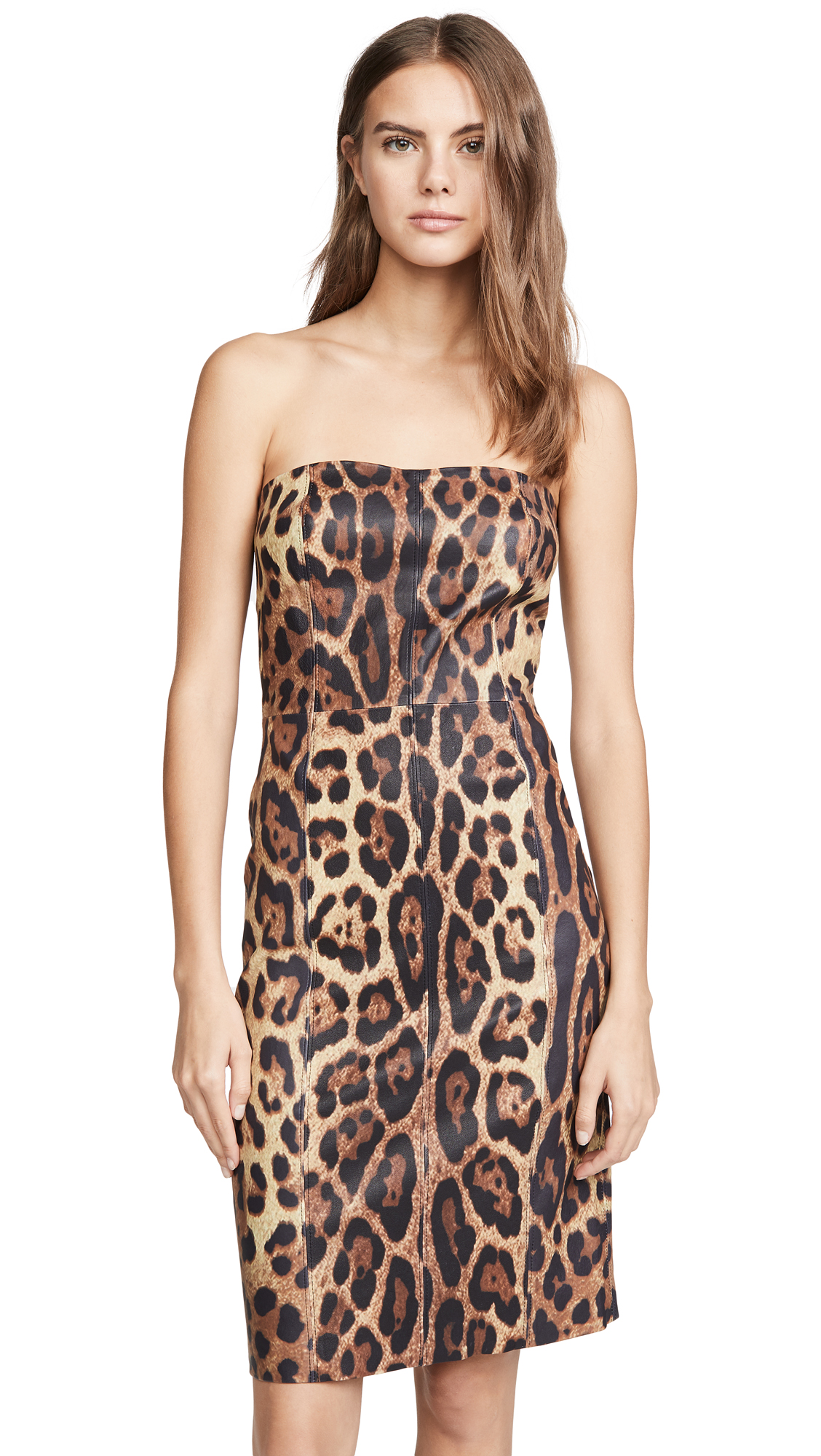 Buy SPRWMN online - photo of SPRWMN Strapless Leopard Dress