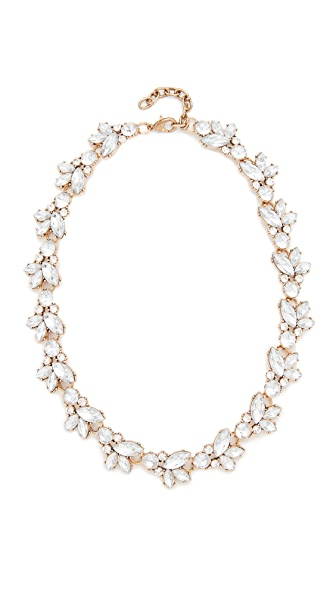 Stella + Ruby Crystal Cluster Statement Necklace - Antique Gold