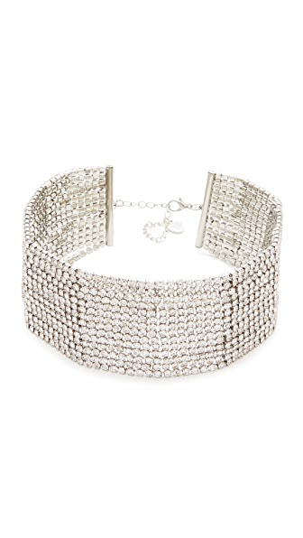 Stella + Ruby Statement Multi Strand Necklace In Silver/Crystal