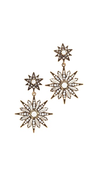 Stella + Ruby Double Star Statement Earrings - Antique Gold
