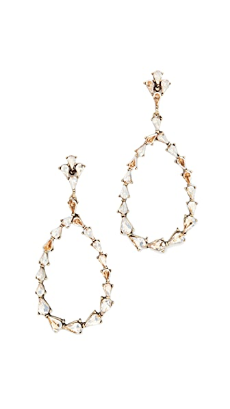 Stella + Ruby Statement Dangle Hoop Earrings - Gold Peach
