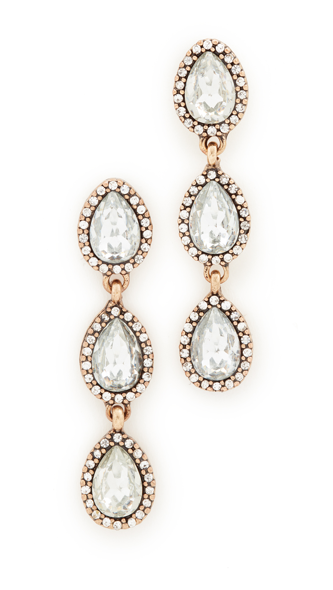 Stella + Ruby Three Drop Crystal Earrings