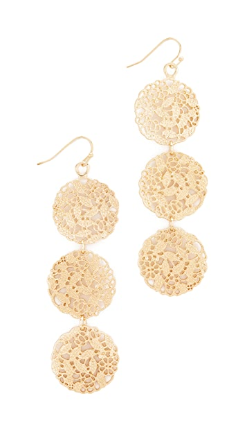 Stella + Ruby Ornate Three Tier Gold Disc Earrings