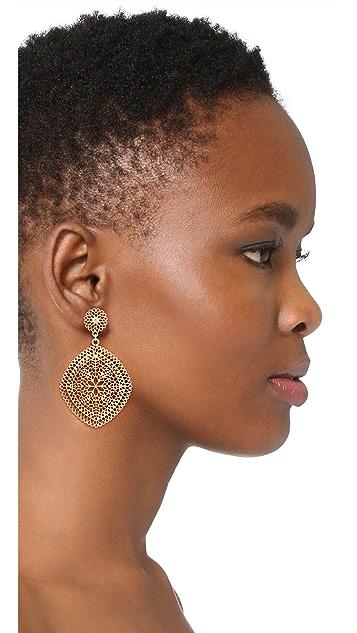 Stella + Ruby Large Ornate Dangle Disc Earrings