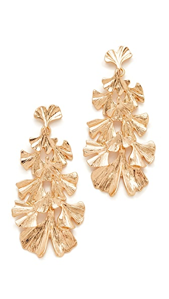 Stella + Ruby Leaf Dangle Earrings - Gold