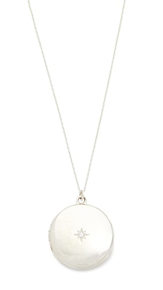 Sasha Samuel Single Star Round Locket Necklace In Silver