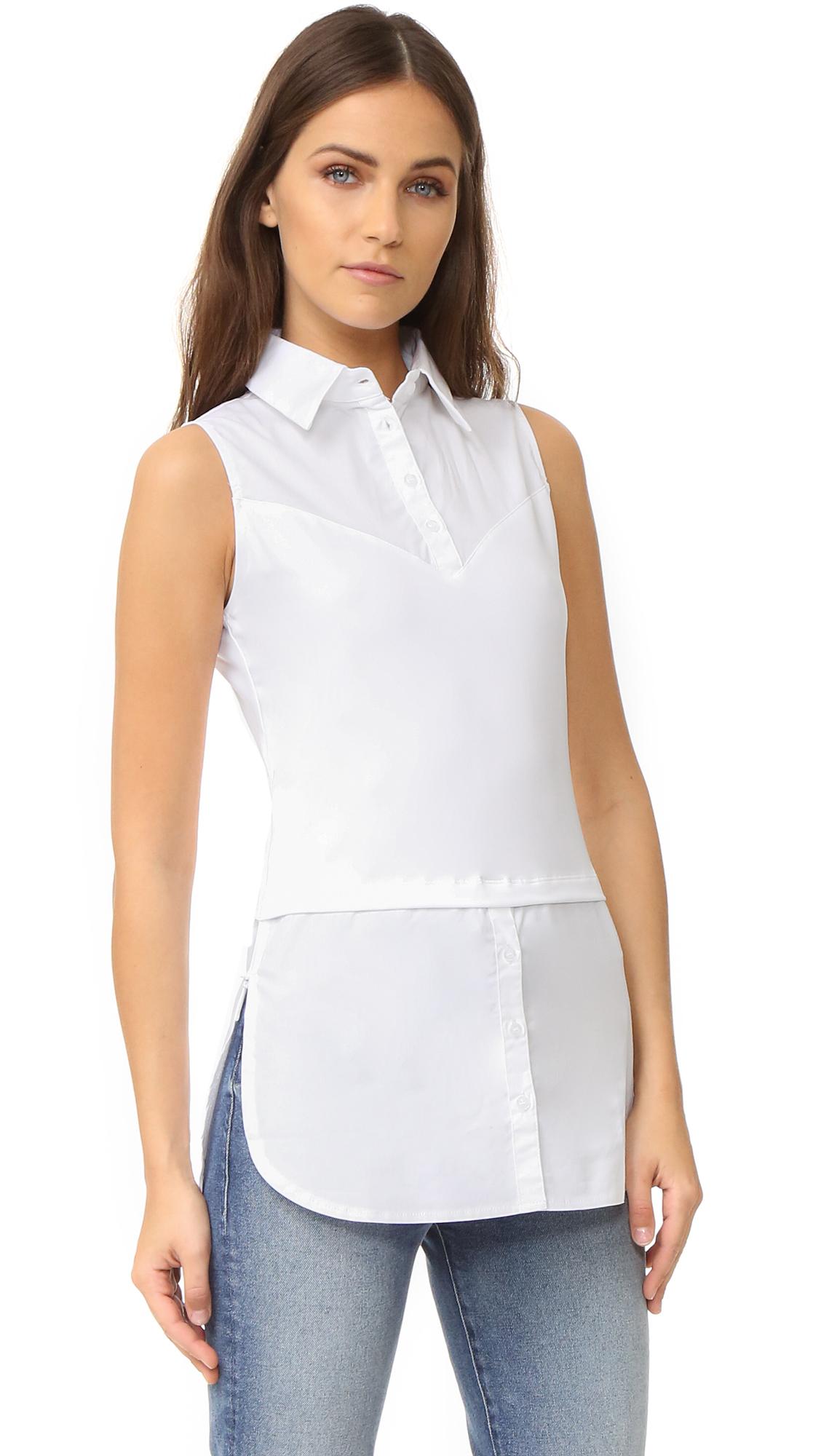 SKINNYSHIRT Sleeveless Shirt with Tails In White