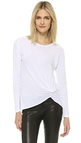 Stateside Twist Front Long Sleeve Tee - White