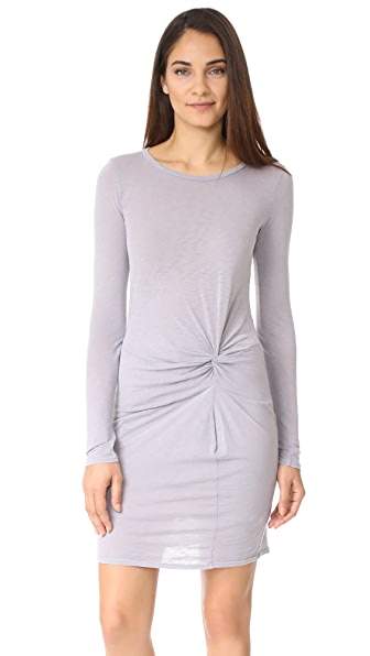 Stateside Long Sleeve T-Shirt Dress In Silver