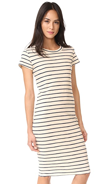 Stateside Striped T Shirt Dress In Natural