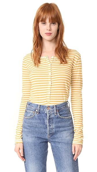 Stateside Mustard Stripe Henley - Cream