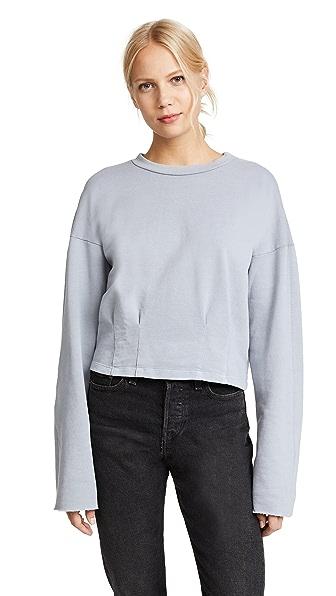 Stateside Pleated Cropped Sweatshirt In Silver