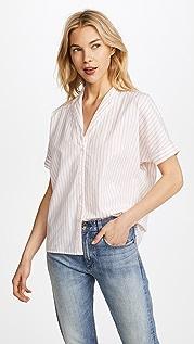 Stateside Рубашка на пуговицах из ткани оксфорд в полоску с короткими рукавами