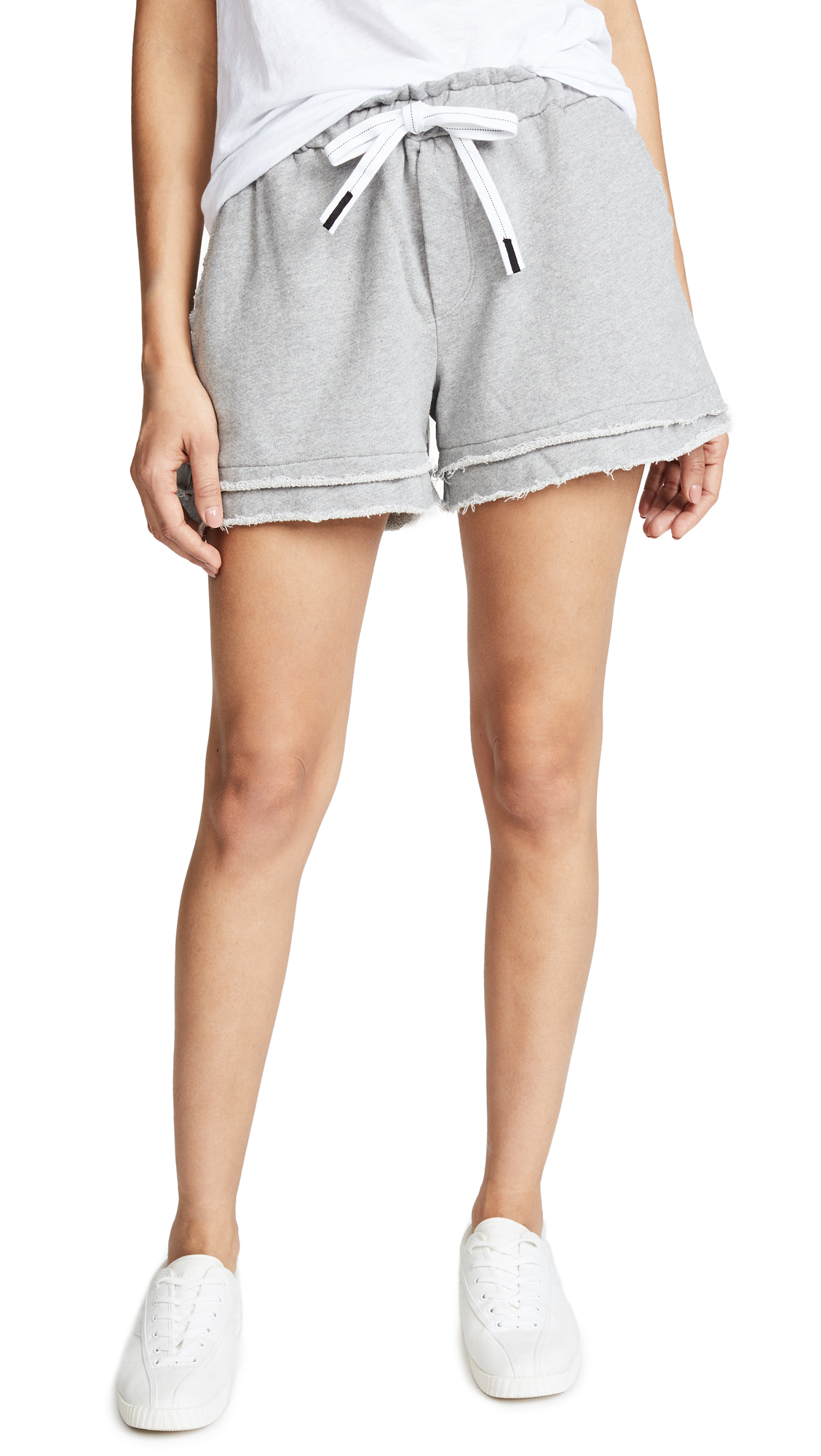Stateside Raw Edge Sweatshorts In Heather Grey
