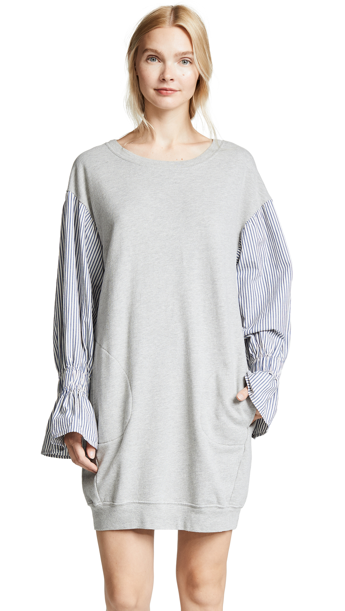Stateside Sweatshirt Combo Dress In Heather Grey