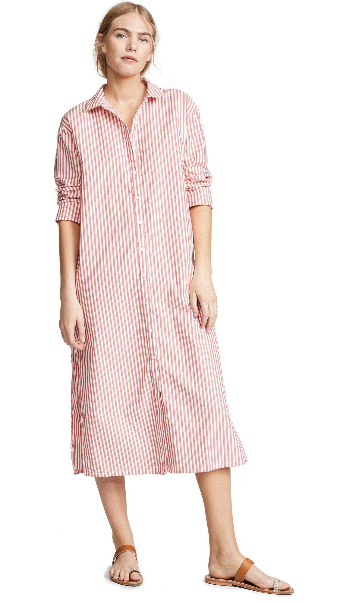 Stateside Oxford Shirtdress - Coral Stripe