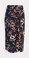 Stateside 夏威夷风格花卉印花扭褶半身裙