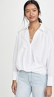 Stateside Рубашка из ткани в рубчик с перекрученной отделкой спереди