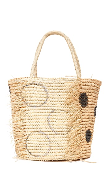 Sensi Studio Frayed Polka Dots Medium Tote
