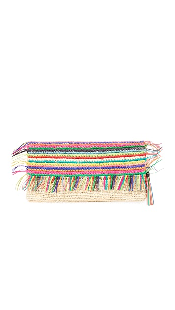 Sensi Studio Multicolor Clutch with Tassels