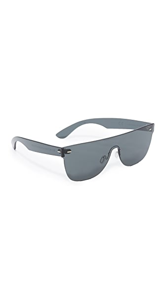 Super Sunglasses Tuttolente Flat Top Sunglasses - Black/Black