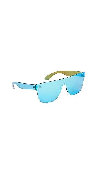 Super Sunglasses Tuttolente Flat Top Sunglasses In Azure/Azure